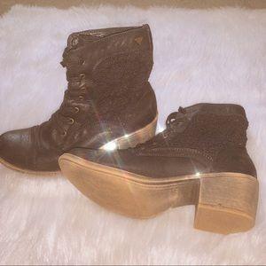 Black lace combat boots